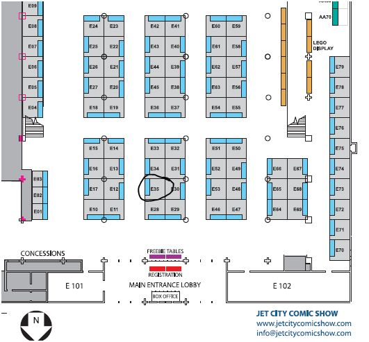 Jet City Comic Show -- Show Floor Map 2012